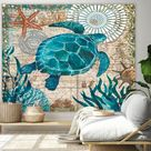KaiSha LED Tapestry Wall Hanging; Ocean Sea Turtle Coral Beach Home Décor Living Room Bedroom Dorm Large Artwork (79