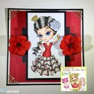 Digital stamps, Flamenco, Sevillana, Spanish Girl, Craft, Big Eyes, Coloring pages, Paper crafting, Cardmaking, Homemadecard. Little Carmen