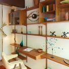 Mid-century modern shelving unit with desk. Eichler built home. I'm swooning. #eichler #builtins #danish