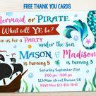 Mermaid and Pirate invitation Pirate Mermaid birthday   Etsy