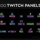 100 Twitch panels plus icons and numbers for streaming | Twitch panels set bundle | Twitch panel package