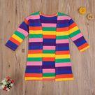 Valery Rainbow Striped Cardigan Coat - 6T