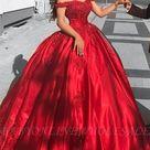 Schlichte Rote Abendkleider Bodenlang   Romantische Schulterfrei Abendmode Prinzessin   Babyonlinewholesale