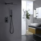 Clihome® | 10 in. Square Shower System with Slide Bar Hand-Shower with Rough-in Valve in Black