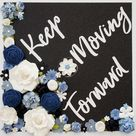 Keep Moving Forward Graduation Topper and Decoration. Flower and Glitter Graduation Cap Decoration. Customize colors and saying