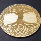 Tree of Life Drinks Coaster Laser Carved 90x90x3mm Birch Wood Danish Oil Finish, Set of 4. - Danish Oil Finish