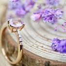 Stunning Handmade Pink Topaz & Diamond Dress Ring   Pink Topaz   November Birthstone   UK Finger Size P   Diamond Shoulders   Modern