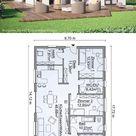 Moderner Bungalow Haus Grundriss mit Satteldach & 4 Zimmer bauen - Hausbau Ideen Fertighaus 130 qm