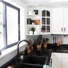 50 Black Kitchen Design Ideas With White Color Accent - SWEETYHOMEE