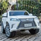 Licensed 12V Lexus LX Two-Seater Remote Control MP4 Bluetooth LED Lights - White