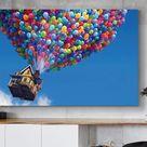 Disney Up Colourful Balloons Classic Cartoon Movie Home Decor Art, Up Pixar Wall Art, Up Pixar Canvas Print, Kids room decor, Disney Gift