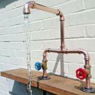 Kupferrohr Doppelwaschbecken Mixer Schwenkarmatur Wasserhähne