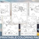 Airplane Coloring Pages - 40 Printable Airplane Coloring Pages for Kids, Boys, Girls. Airplane Birthday Party Activity, Instant Download