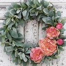 Peony Lamb's Ear Wreath, French Country Decor, Pink and Green Wreath, Gift for Her, Spring Wreath, Mother's Day Wreath, Door Wreath