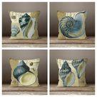 Beach House Pillow Case|Blue Gray Beige Marine Pillow Cover|Nautical Cushion|Seashell Throw Pillow|Farmhouse Rustic Home Decor|Porch Pillow