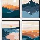 Nature Wall Art Prints Landscape Mountain Decor - by Haus and Hues | Mid-Century Wall Art | Modern Wall Decor Mountain Wall Art | Mountain Art Wall Decor (UNFRAMED) (8x10)