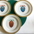 Vintage 1991 Royal Gallery, Gold Buffet Faberge Egg, 8.5 in Salad Plate, Sri Lanka, Collector Plates, Gold Rim Plates, Home décor, 3 Plates