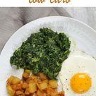 Falsche Bratkartoffeln. Mit Spinat und Ei. Low carb.