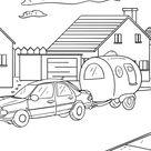 Malvorlage Auto mit Wohnwagen Camping - Kostenlose Ausmalbilder