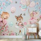 Forest Mural Wallpaper, Nursery Wallpaper, Nursery Woodland Decor, Nursery Decor, Kids Room Decoration, Nursery Wall Mural, Kids Wallpaper