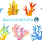 Watercolor Coral Reef Wall Decal Set Under The Sea Life Tropical Removable Fabric Vinyl Wall Stickers | DecalBaby - One Size