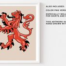 Heraldic Lion SVG Artwork Clipart Png  Medieval Coat of Arms | Etsy