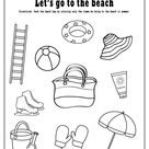 Free printable beach coloring page and a fun activity sheet