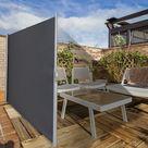 Brise Vue Rétractable 300x 160CM en Aluminium Store Latéral pour Balcon Terrasse Jardin Bureau Tissu en Polyester Gris - Costway