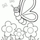 Flying Bee in Spring Season Coloring Page