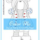 Color Me, Christmas Doll Color Pattern, Interior Doll Art, Winter Doll Coloring, Doll Digital Stamp