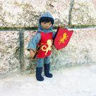 Dollhouse Castle Knight Doll (red tunic) - Dark skin black hair #3