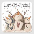 Snowman Snowflake Winter Country Primitive Square Sticker | Zazzle.com