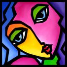 Abstract painting Modern pop Art Contemporary Portrait FACE by Fidostudio   Once Again