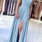 Elegant Sweetheart Spagehetti Straps Blue Lace Slit Prom Dresses,Beaded Prom Dresses,MP540