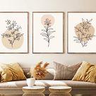Set of 3 Boho wall art print, abstract art, line drawing digital print, download printable art