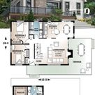 Modern panoramic chalet house plan with private second floor master suite, 2 bedroom on main, open concept