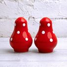 Salt and Pepper Shakers, Ceramic Cruet Set, Handmade Pottery, Red and White Polka dot Pots, Country Cottage Style, Housewarming Gift