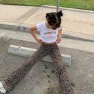 Y2K flare pants - low waisted 00s leopard trousers / aesthetic e girl 90s pants / Vintage Women Clot