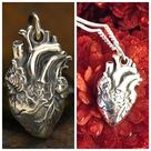 Anatomical Heart Charm Pendant Necklace / Medical Staff Doctor Nurse Love Heartbeat / 925 Sterling S
