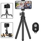 Phone Tripod, Portable Cell Phone Camera Tripod Stand with Wireless Remote, Flexible Tripod Stand for Selfies/Vlogging/Streaming/Photography Compatible with All Cell Phone, Sports Camera GoPro - Black