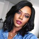 Short Black Wigs for Black Women Kinky Shoulder Length Wavy Hair Wig Natural Fashion Synthetic Full Wig for African American Women for Daily Party with Wig Net Z211BK