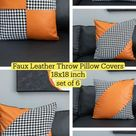 Faux Leather Throw Pillow Covers set of 6