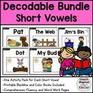 Decodable Readers Kindergarten   Short Vowels   Comprehension/Fluency/Word Work
