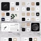 Neutral Handlettered Icon Theme Pack   IOS 14   App Covers Black, White, Cream, Blush