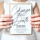 Change the Date Card | clean design | with customizable back, postcard for wedding, invitation, stat