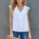 Sleeveless Crochet Lace Blouse - White / S