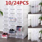 Clear Plastic Drawer Case Shoe Boxes Storage Organizer Box