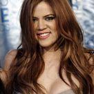 Khloe Kardashian Straight Red Hair in gray dress