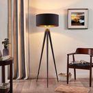 Zwart-gouden vloerlamp Benik met statief look van Lindby