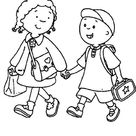 School Going Kids Coloring Page
